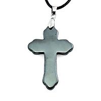 Гематит, серебро, крестик