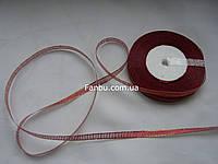 "Блестящая лента ""парча"", цвет темно-красный (ширина 0.5см) 1 рулон-25 ярдов"
