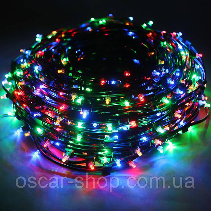 Новогодняя светодиодная гирлянда мультицвет 8 м  100 LED  для дома и улицы на черном проводе