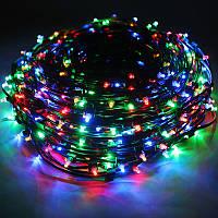 Новорічна світлодіодна гірлянда мультиколір 8 м 100 LED для будинку і вулиці на чорному проводі