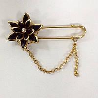 Брошь булавка золотистая с цветком и цепочкой