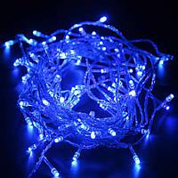 Новогодняя светодиодная гирлянда синяя 100Led для дома и улицы на зеленом проводе 8 м