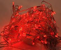 Новогодняя светодиодная гирлянда красная 100Led для дома и улицы