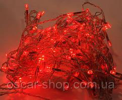 Новогодняя светодиодная гирлянда красная 100Led для дома и улицы на черном проводе 8 м