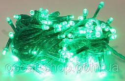 Новогодняя светодиодная гирлянда зеленая 100Led для дома и улицы на черном проводе 8 м