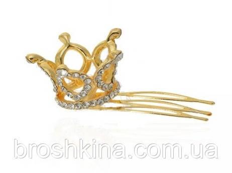 Миниатюрная 3D корона на гребешке золотистая
