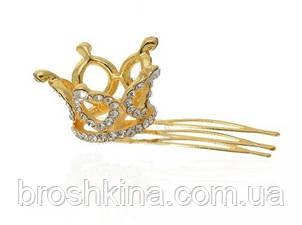 Мініатюрна 3D корона на гребінці золотиста