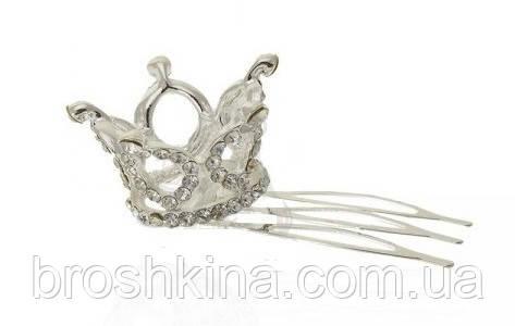 Миниатюрная 3D корона на гребешке серебристая