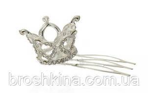 Мініатюрна 3D корона на гребінці срібляста