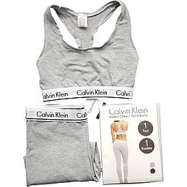 Леггинсы + топ Calvin Klein серые