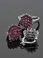 Комплект украшений фианит имитация рубина Код: 016530 18 размер кольца