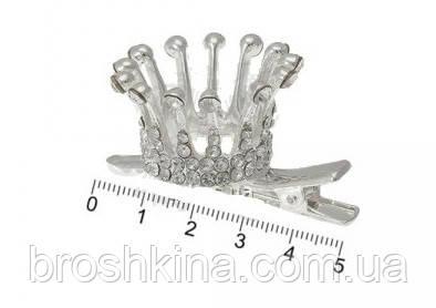 3D корона на заколке-уточке серебристая