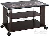 Журнальный столик на колесиках с принтом венге