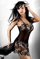 Золотисто-чёрная эротическая сорочка Livia Corsetti Hera L/XL, черный+бежевый