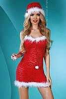 Полупрозрачный кружевной эротический костюм снегурочки Christmas Star Livia Corsetti Fashion S/M, красный