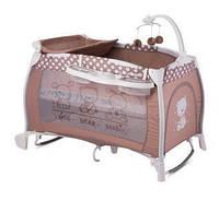 """Детская кровать-манеж I""""LOUNGE 2 LAYER ROCKER BEIGE FRIENDS (пеленатор, мобиль с игрушками, колеса) ТМ Lorelli/Bertoni"""