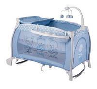 """Детская кровать-манеж I""""LOUNGE 2 LAYER ROCKER BLUE FRIENDS (пеленатор, мобиль с игрушками, колеса) ТМ Lorelli/Bertoni"""