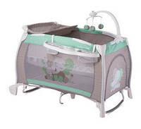 """Детская кровать-манеж I""""LOUNGE 2 LAYER ROCKER GREEN&GREY ELEPHANT (пеленатор, мобиль с игрушками) ТМ Lorelli/Bertoni"""