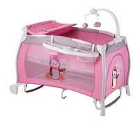 """Детская кровать-манеж I""""LOUNGE 2 LAYER ROCKER PINK PINGUIN (пеленатор, мобиль с игрушками, колеса) ТМ Lorelli/Bertoni"""