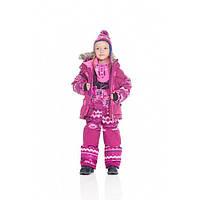 Зимний термокостюм для девочки 2-7 лет (куртка, полукомбинезон, манишка) ТМ Deux par Deux B 803-533