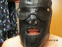 Шлем маска шапка новая натуральная кожа для ролевых игр п-во австрия черная bdsm садо-мазо