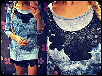 Короткое женское платье из джинса