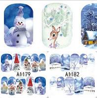 Зимний слайдер дизайн, 1 лист водных наклеек, Новый Год, Рождество