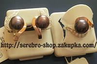 Ювелирный комплект украшений из серебра и золото с жемчугом 0028