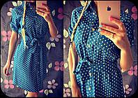 Женское джинсовое платье-рубашка в горошек