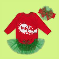 Новогодний комплект Елочка, костюм, комплект для деток  с юбкой  3ка