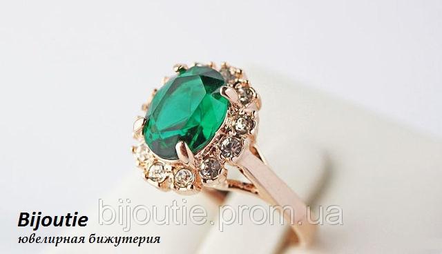 Кольцо ювелирня бижутерия покрытие золото 18к декор кристаллы Swarovski