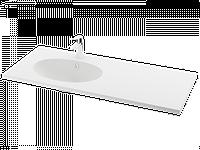 Раковина из литого камня PAA OVO SILK 120x50 K/C/L