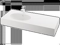 Раковина из литого камня OVO SILK 120x50 K/C/L
