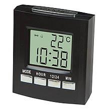 Говорящие настольные часы Vst-7027c, с термометром black