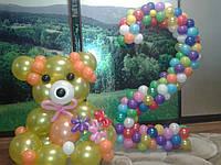 Мишка из шаров и цифра 2