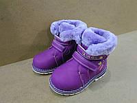 Новые зимние ботинки на овчине для девочки фиолетовые с меховым манжетом легкие
