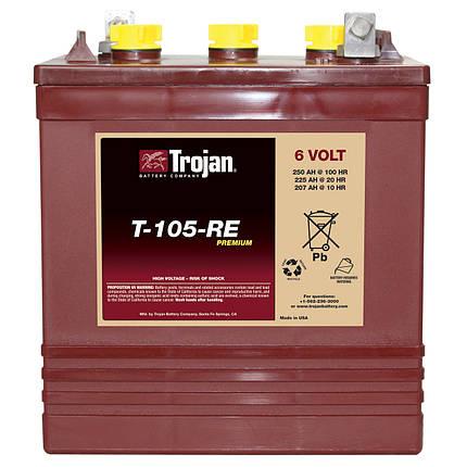 Аккумулятор глубокого цикла для ВИЭ Trojan T-105-RE 250Ач(100ч) 6В, фото 2