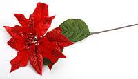 Новогодний декор Пуансетия красная 72см