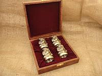 Чарки из бронзы 4 шт в кейсе казаки