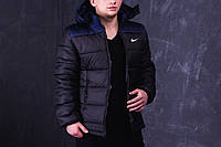 Куртка зимняя, мужская, идеально для зимы, черный + темно-синий