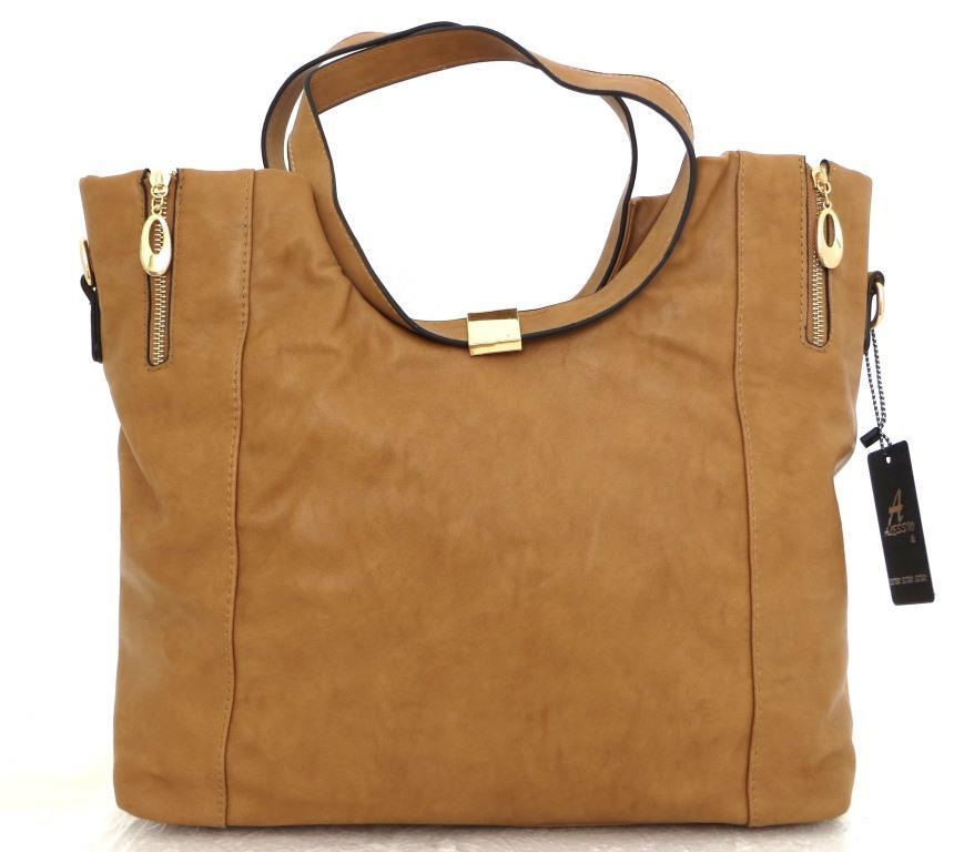 Вместительная женская сумка . Эко-кожа. Коричневая