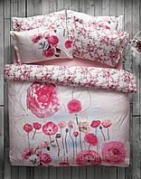 Комплект постельного белья панно Karaca Home June розовый