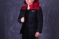 Куртка зимняя, мужская, идеально для зимы, Nike, черный + красный