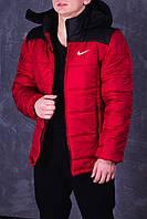 Куртка зимняя, мужская, идеально для зимы, Nike, красный+  черный
