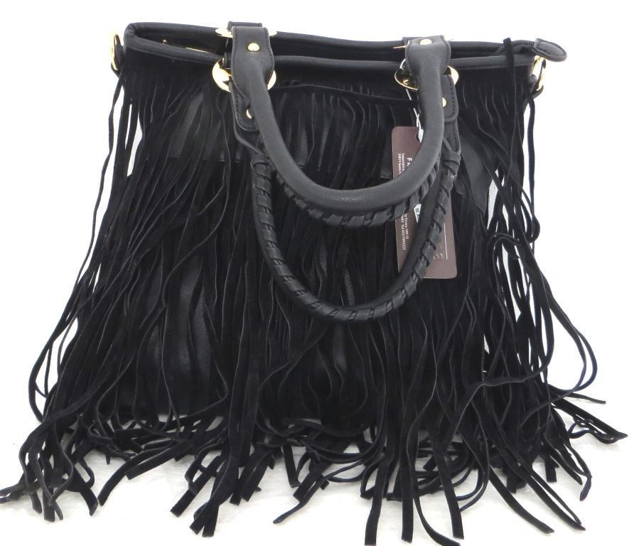 Удобная женская сумка  с бахромой. Эко-кожа. Черная