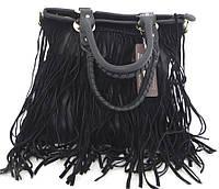Удобная женская сумка  с бахромой. Эко-кожа. Черная, фото 1