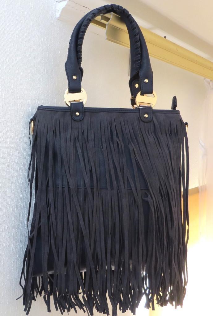 Удобная женская сумка  с бахромой. Эко-кожа. Темно-синяя, фото 1