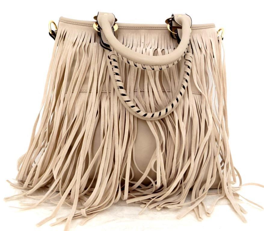 Удобная женская сумка  с бахромой. Эко-кожа. Бежевый