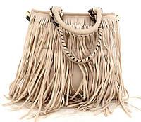 Удобная женская сумка  с бахромой. Эко-кожа. Бежевый, фото 1