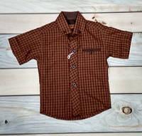 Рубашка с коротким рукавом на мальчика  KidsMod коричневая нарядная Турция 1-4 года